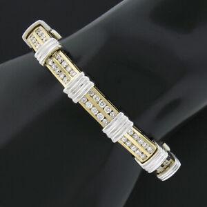 14K TT Gold 3.50ct Round Dual Channel Set Diamond & Grooved Link Tennis Bracelet