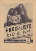 Preisliste zum neuen Katalog 1957 Versandhaus Leipzig