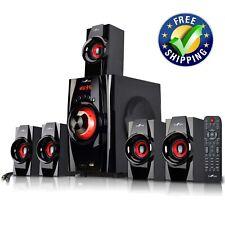 beFree Sound 5.1 Channel Surround Sound Bluetooth Speaker System- Red.