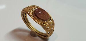 0710.  Roman Gold Ring with Artemis Intaglio   1st c. AD