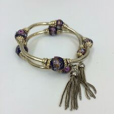 Accesorize Ladies Gold Bronze Purple Beaded Tassel Detail Double Bangle Bracelet