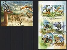 MOZAMBIQUE 2011 BOVIDEOS WILD ANIMALS FAUNA CATS LEOPARD GEPARD STAMPS MNH**