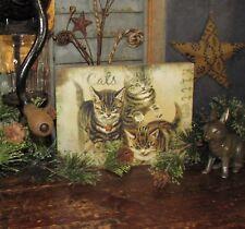Primitive Antique Vtg Style Wooden Box Kitten Cat Lover Sign Shelf Sitter
