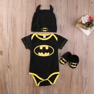 Newborn Baby Boy Kid Batman Romper Bodysuit Shoes Hat Clothes Outfit Costume Set