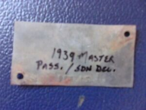 1939 Chevrolet Sedan Delivery / Pass Car Master Genuine GM Serial Number VIN Tag