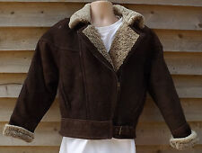 Ladies Dark Brown Sheepskin Leather Flying Jacket - 12 - Miller Sheepskin