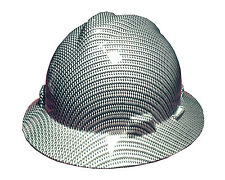 Hydrographic Black and Silver Carbon Fiber MSA V-Guard Full Brim