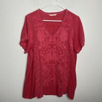 Soft Surroundings Floral Embroidered V Neck Blouse Pink Short Sleeve Flowy Sz M