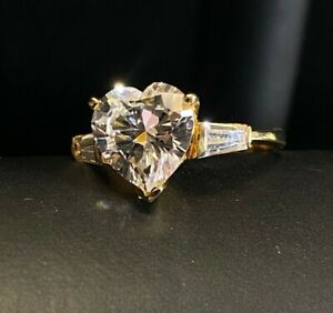 Estate 10k Yellow Gold Heart Cocktail Statement Anniversary Ring