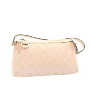 GUCCI GG Canvas Abbey Accessory Pouch Pink Auth gt1502