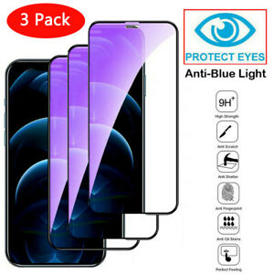 3 Packs Tempered Glass Screen Protector Anti-Blue Light For iPhone 13 12 Pro Max