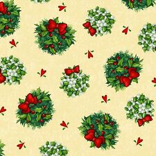 1 Half Metre Length Christmas Mistletoe and Holly Bauble Print Fabric - 23264