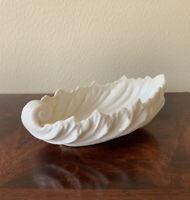 """LENOX Porcelain Acanthus Leaf Candy Nut Dish Bowl White Sculpted 9"""" W VINTAGE"""