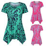 Casual Women's Short Sleeve Swing Tunic Summer Floral Flare Tee Top Blouse Shirt