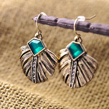 Vintage Gold Feather Green Emerald Crystal Leaves Statement Dangle Drop Earrings