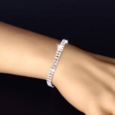 Women Zircon Diamante Sparkling Silver Crystal Bangle Bracelet Jewelry Wedding