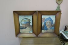 Set @ 2 Michelangelo Sistine Chapel Framed Print Sibilla Libica  Delphica Framed