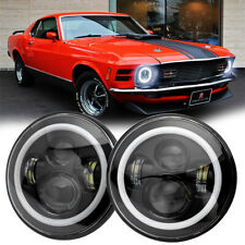 Pair 7 Inch Round Led Headlights Hilo Beam Halo Drl For Ford 1965 1973 Mustang Fits Mustang