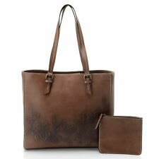 Firenze Bella Tooled Air brushed Floral Leather Tote Bag w  Pouch Brown NWT 373d3aa9a52ee