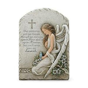 Never Leave Heart Angel Memorial Concrete Look 7.5x11 Resin Wall Plaque