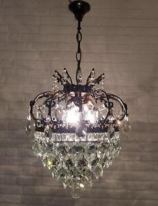 Antique Vintage Brass & Crystals Crown Chandelier Lighting Ceiling Lamp Light