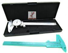 """(2) 6"""" DIAL CALIPER STAINLESS STEEL .001 & PLASTIC VERNIER CALIPER 6"""" / 150MM"""