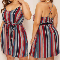 Fashion Women's Plus Size Stripe Print Camis V-Neck Sleeveless Bandage Dress