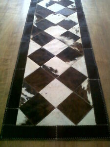 cowhide patchwork table runner carpet leather animal skin 12