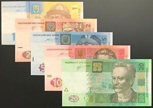 Ukraine - SET of 5 notes (PCS), 1 - 20 HRYVEN 2013 - 2015, Pick # 116A-120, UNC