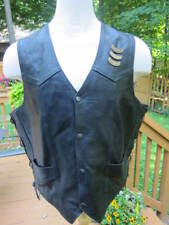 VTG MEN'S Leather Motorcycle Vest Sz  50 Harley Road King Patchs~Hog Pins~Laced