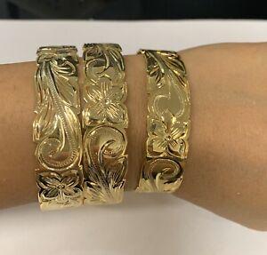 Silver Plated Gold Tone Hawaiian Plumeria Flower Scroll Bangle Bracelet, 15mm,