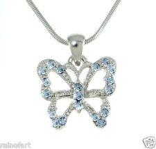 W Swarovski Crystal Butterfly Blue Wings New Necklace Jewelry Pendant