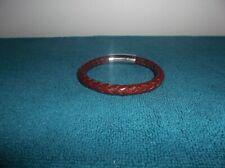 bracelet 8 1/2 inch long men - stainless steel brown leather