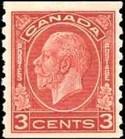Canada #207 mint VF OG NH 1933 King George V 3c deep red Medallion Coil