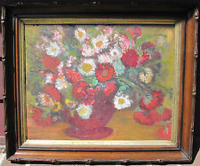ANTIQUE IMPRESSIONIST FLORAL STILL LIFE OIL PAINTING STYLE OF MATISSE MA ORIGIN
