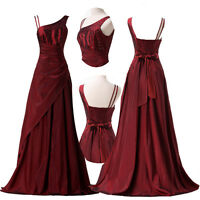 Womens Burgundy Formal/Evening/Gown Prom cocktail Long Maxi dresses AU Size 6-20
