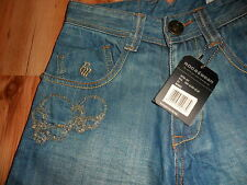 "BNWT🌹Roca Wear🌹Blue jeans W 26"" L 29"" Designer trousers scull straight leg New"