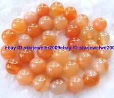 "New! 10mm Orange Natural Agate round gemstone beads 12"""