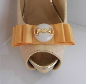 2 Warm Gold Bow Clips for Shoes with Buckle Style Button Centre