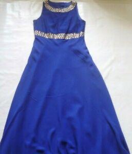 Roman Purple Maxi Dress with Crystal Beaded Collar and Waist Size 12