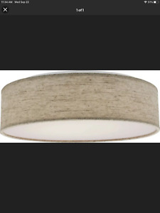 Nuvo 15 in. Fabric Drum LED Decor Flush Mount Fixture Beige Fabric Fast Shipping