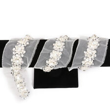 1yard Pearl Diamante Dress Belt White Crystal Sash Lace Ribbon Sewing Trim
