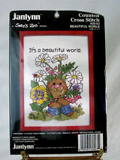 "Janlynn Suzy's Zoo Counted Cross Stitch kitw/frame ""Beautiful World"" Unopened"