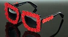 RARE NEW Genuine Dolce & Gabbana Red Flowers Wedding Sunglasses DG4253 501/8G