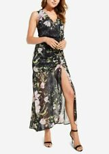 "GUESS $128 ""Nadira"" Sheer-Hem Ruched Maxi Black Dress XL 14/16 X-Large NWT"