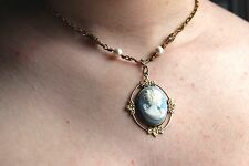 Blue Cameo with Pearls Victorian Necklace perfect for Graduation Gift, Weddings