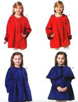 Children Lined Coat w Detachable Hood & Capelet Butterick Pattern B5809 CDD 2-5