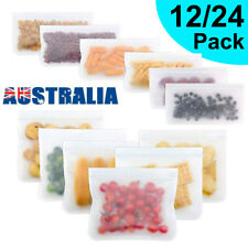 12/24X Resealable Silicone Food Storage Freezer Bag Kitchen Vacuum Fresh Ziplock