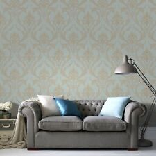 Boutique Oxford Damask Print Teal/Gold Heavyweight Vinyl Wallpaper