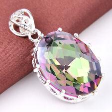 """Fashion Women Jewelry Rainbow Mystical Topaz Gems Silver Necklace Pendant 1 3/8"""""""